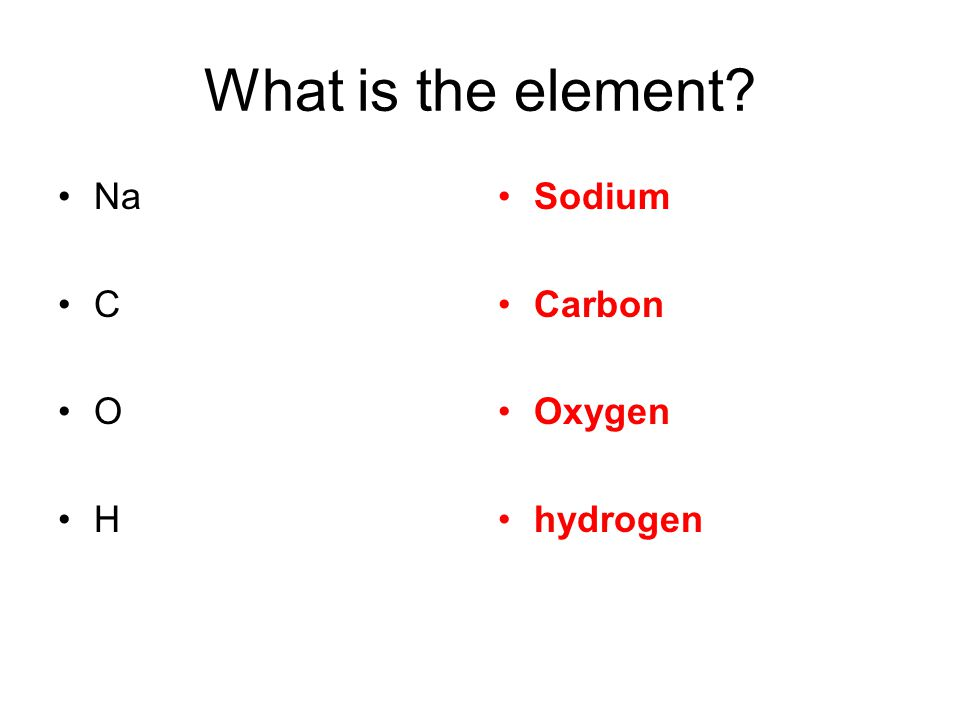 What is the element Na C O H Sodium Carbon Oxygen hydrogen
