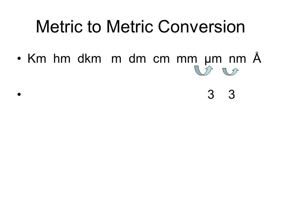 Metric to Metric Conversion Km hm dkm m dm cm mm µm nm Å 3 3
