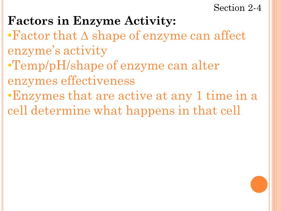 Section 2-4 Factors in Enzyme Activity: Factor that ∆ shape of enzyme can affect enzyme's activity Temp/pH/shape of enzyme can alter enzymes effectiveness Enzymes that are active at any 1 time in a cell determine what happens in that cell