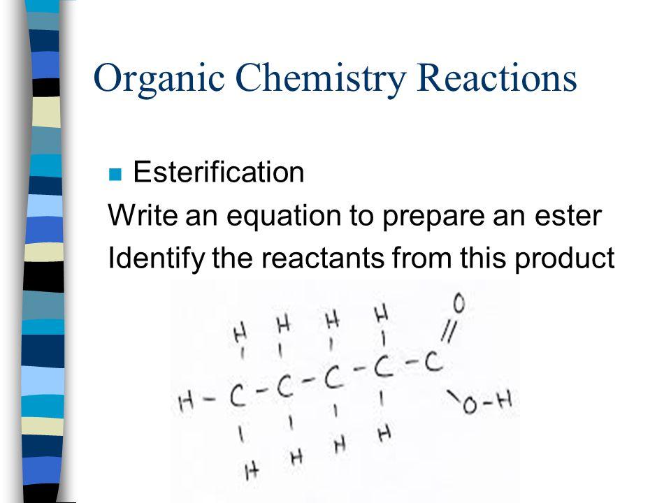 Esterification + + Acid Alcohol EsterWater 