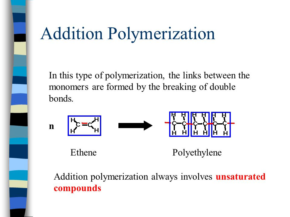 Polymerization is the process by which a number of small molecules (monomers) are hooked together to form a larger molecule (polymer). This is like fo