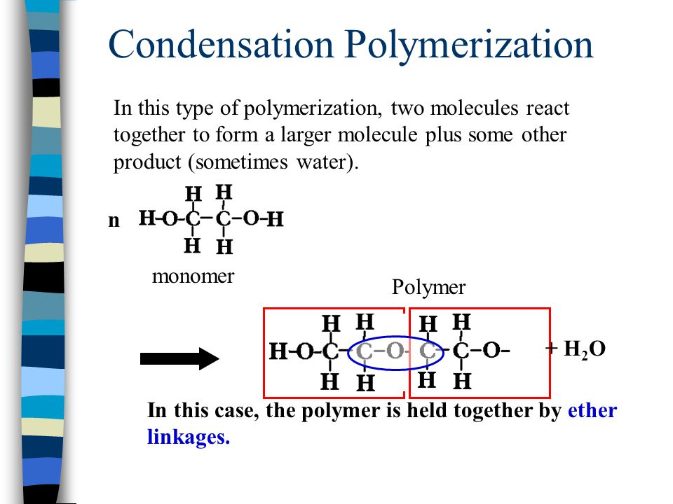 Condensation Polymerization In this type of polymerization, two molecules react together to form a larger molecule plus some other product (sometimes water).