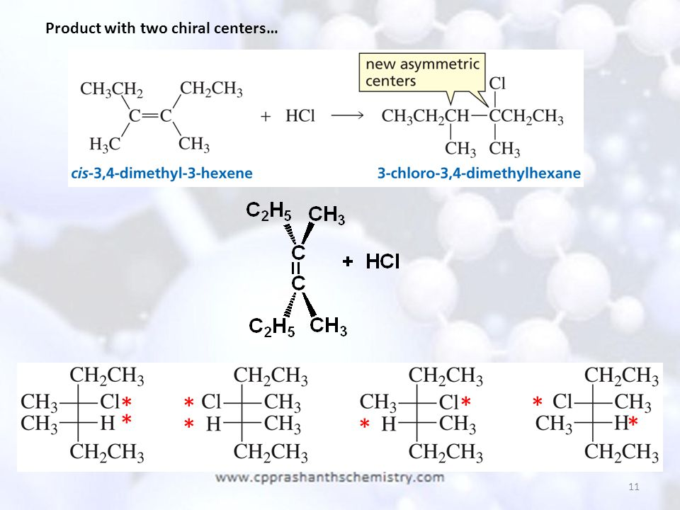 11 Product with two chiral centers… * ** * ** * *