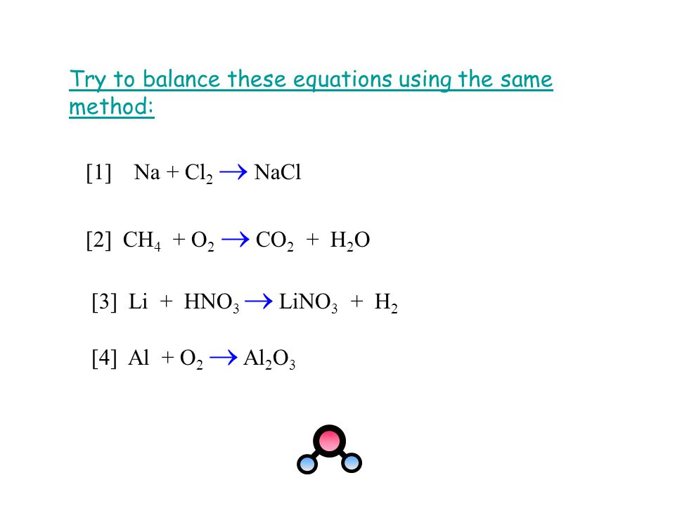 Try to balance these equations using the same method: [1] Na + Cl 2  NaCl [2] CH 4 + O 2  CO 2 + H 2 O [4] Al + O 2  Al 2 O 3 [3] Li + HNO 3  LiNO