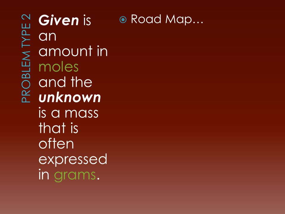 Given is an amount in moles and the unknown is a mass that is often expressed in grams.  Road Map…