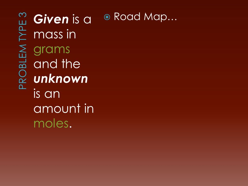 Given is a mass in grams and the unknown is an amount in moles.  Road Map…