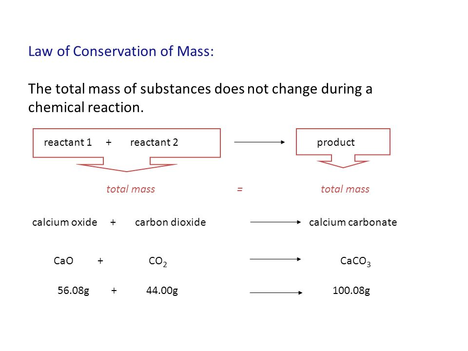 Law of Conservation of Mass: The total mass of substances does not change during a chemical reaction. reactant 1 + reactant 2product total mass = calc