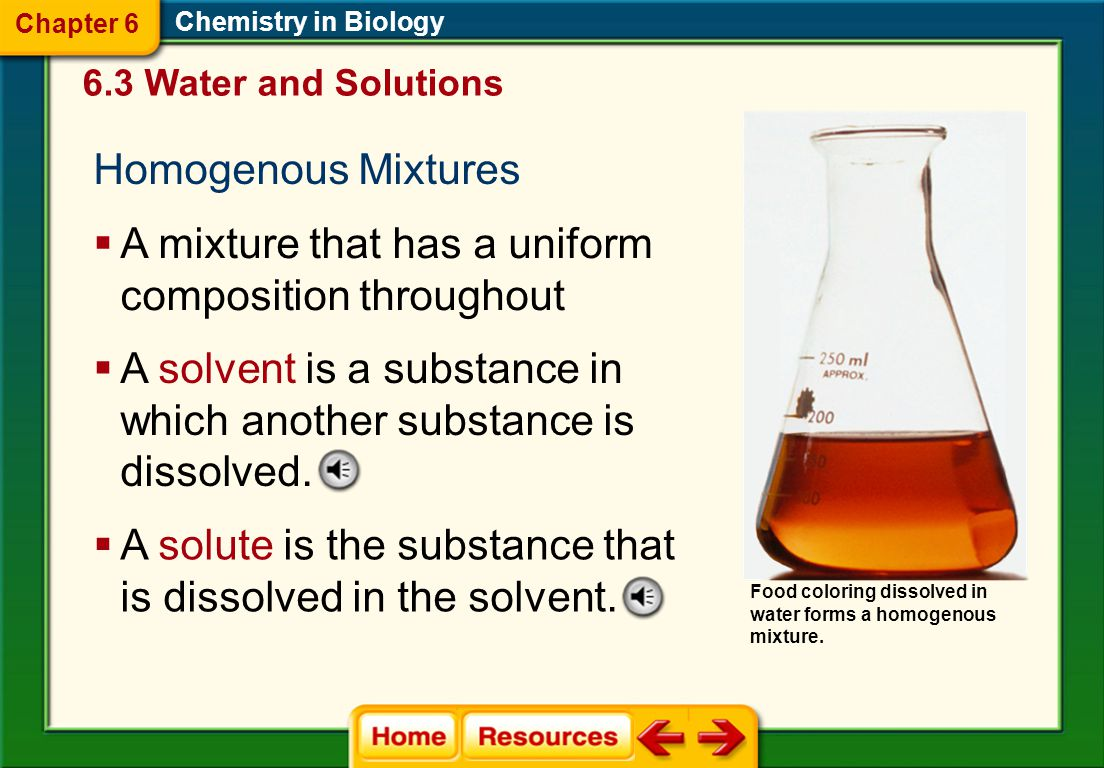 Chemistry in Biology 6.3 Water and Solutions Chapter 6 Visualizing Properties of Water Enzyme- Controlled Reactions