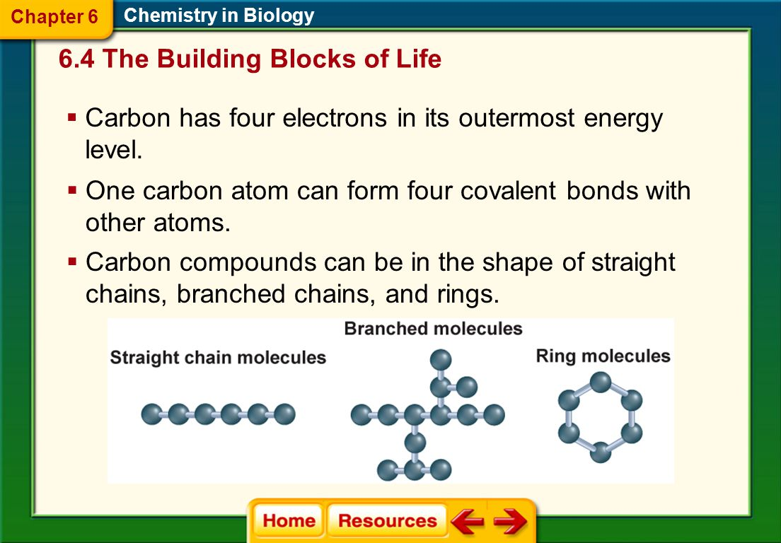 Organic Chemistry  The element carbon is a component of almost all biological molecules. 6.4 The Building Blocks of Life Chemistry in Biology Chapter