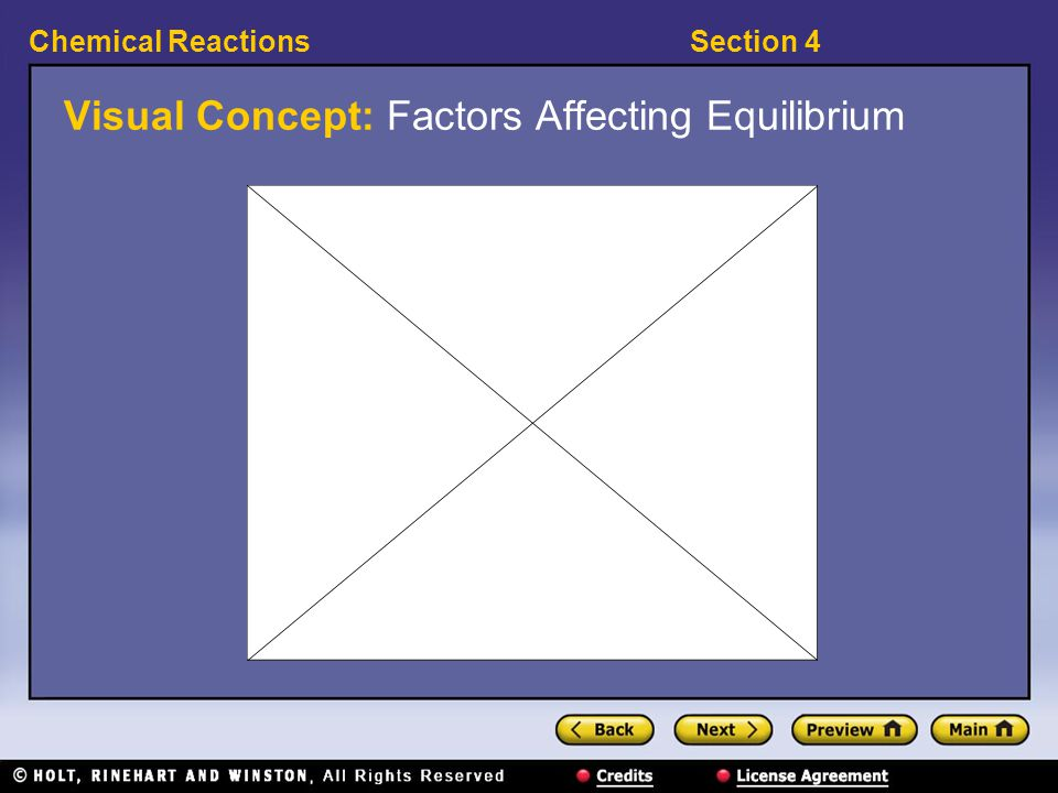 Section 4Chemical Reactions Visual Concept: Factors Affecting Equilibrium