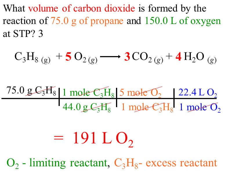 C 3 H 8 (g) + O 2 (g) CO 2 (g) + H 2 O (g) O 2 - limiting reactant, C 3 H 8 - excess reactant What volume of carbon dioxide is formed by the reaction of 75.0 g of propane and 150.0 L of oxygen at STP.
