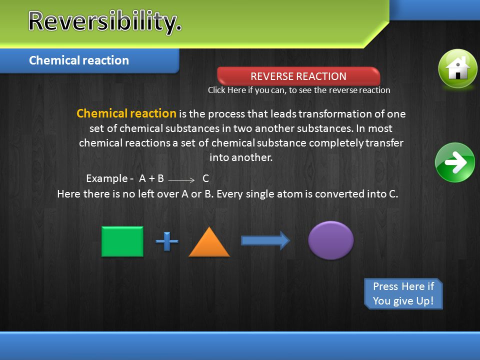 Chemical reaction is the process that leads transformation of one set of chemical substances in two another substances. In most chemical reactions a s