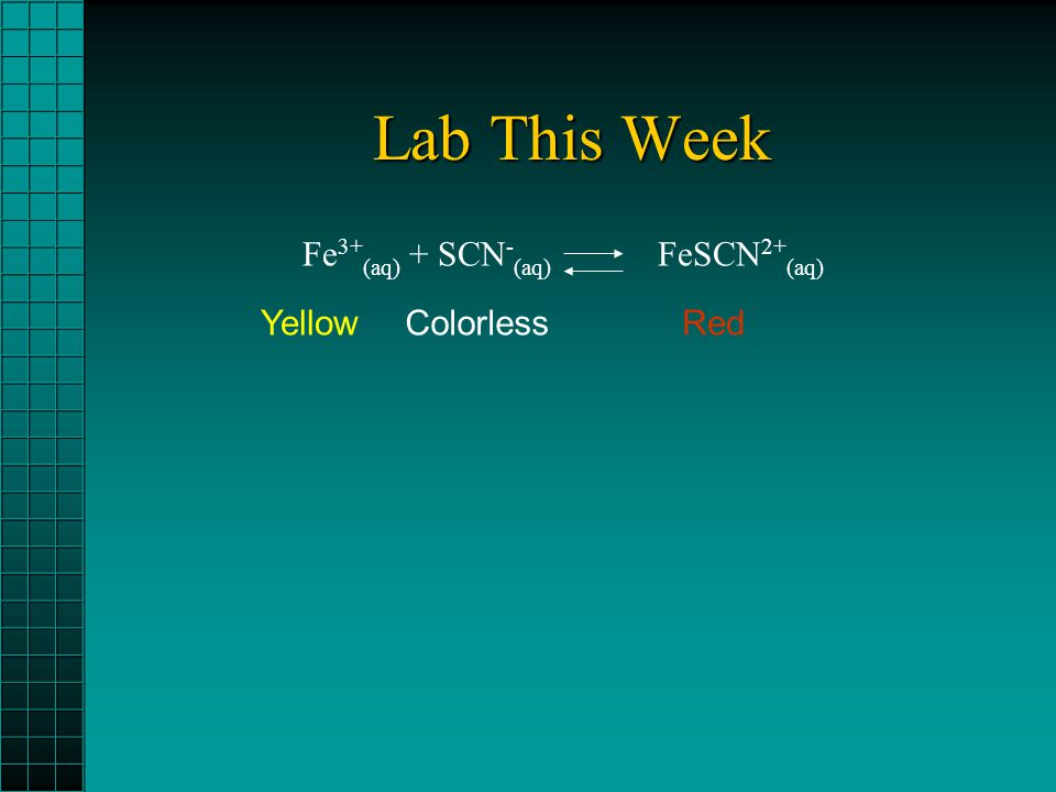 Lab This Week Fe 3+ (aq) + SCN - (aq) FeSCN 2+ (aq) YellowColorlessRed