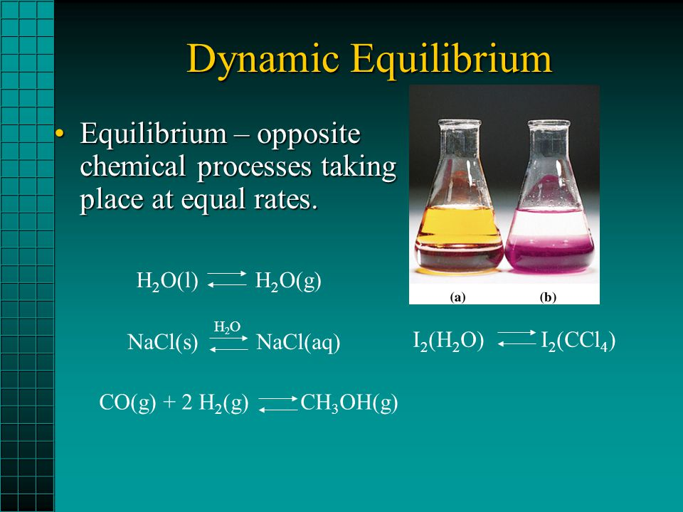 Dynamic Equilibrium Equilibrium – opposite chemical processes taking place at equal rates.Equilibrium – opposite chemical processes taking place at eq