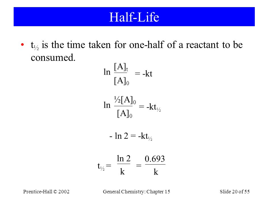 Prentice-Hall © 2002General Chemistry: Chapter 15Slide 20 of 55 Half-Life t ½ is the time taken for one-half of a reactant to be consumed.
