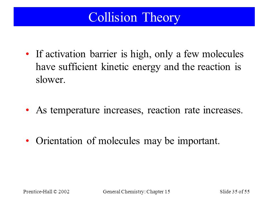 Prentice-Hall © 2002General Chemistry: Chapter 15Slide 35 of 55 Collision Theory If activation barrier is high, only a few molecules have sufficient kinetic energy and the reaction is slower.