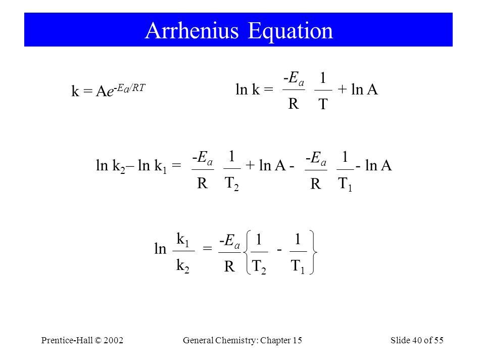 Prentice-Hall © 2002General Chemistry: Chapter 15Slide 40 of 55 Arrhenius Equation k = Ae -E a /RT ln k = + ln A R -Ea-Ea T 1 ln k 2 – ln k 1 = + ln A - - ln A R -Ea-Ea T2T2 1 R -Ea-Ea T1T1 1 ln = - R -Ea-Ea T2T2 1 k2k2 k1k1 T1T1 1