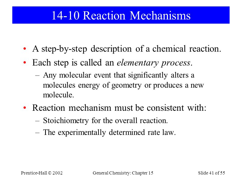 Prentice-Hall © 2002General Chemistry: Chapter 15Slide 41 of 55 14-10 Reaction Mechanisms A step-by-step description of a chemical reaction.