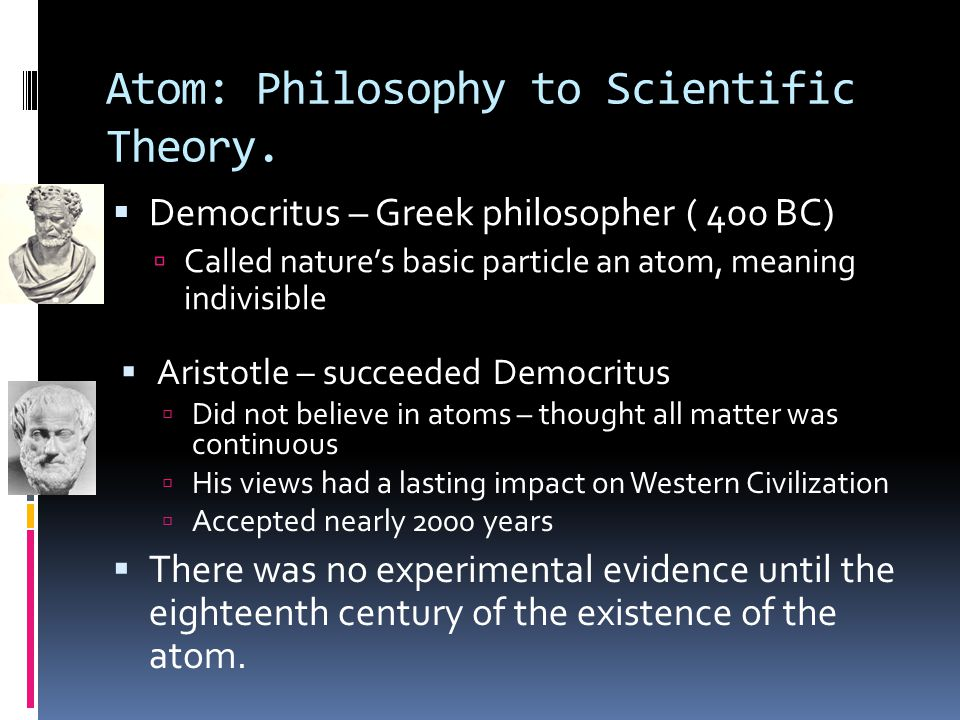 Foundations of Atomic Theory  Law of conservation of mass  States that mass is neither destroyed nor created during ordinary chemical reactions.