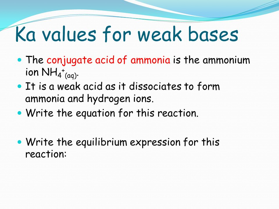 Ka values for weak bases The conjugate acid of ammonia is the ammonium ion NH 4 + (aq). It is a weak acid as it dissociates to form ammonia and hydrog