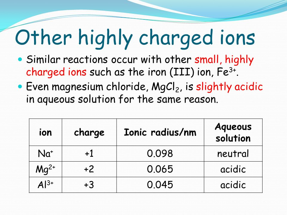 Other highly charged ions Similar reactions occur with other small, highly charged ions such as the iron (III) ion, Fe 3+. Even magnesium chloride, Mg