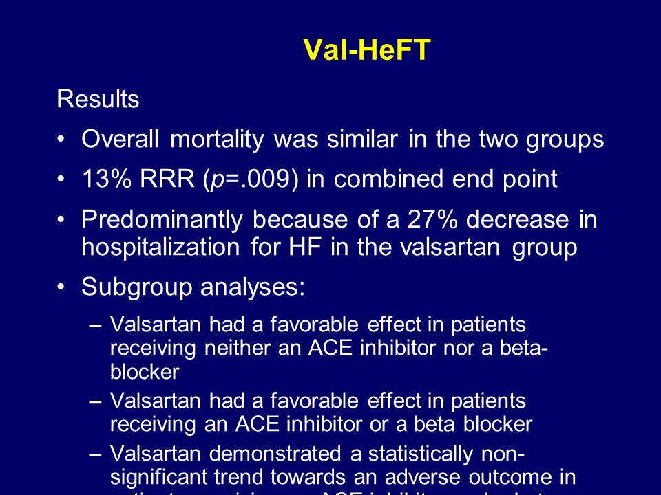 Val-HeFT Results Overall mortality was similar in the two groups 13% RRR (p=.009) in combined end point Predominantly because of a 27% decrease in hospitalization for HF in the valsartan group Subgroup analyses: –Valsartan had a favorable effect in patients receiving neither an ACE inhibitor nor a beta- blocker –Valsartan had a favorable effect in patients receiving an ACE inhibitor or a beta blocker –Valsartan demonstrated a statistically non- significant trend towards an adverse outcome in patients receiving an ACE inhibitor and a beta blocker