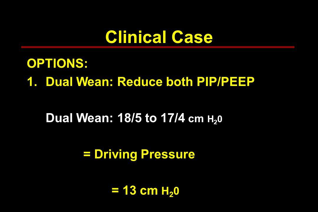 Clinical Case OPTIONS: 1.Dual Wean: Reduce both PIP/PEEP Dual Wean: 18/5 to 17/4 cm H 2 0 = Driving Pressure = 13 cm H 2 0