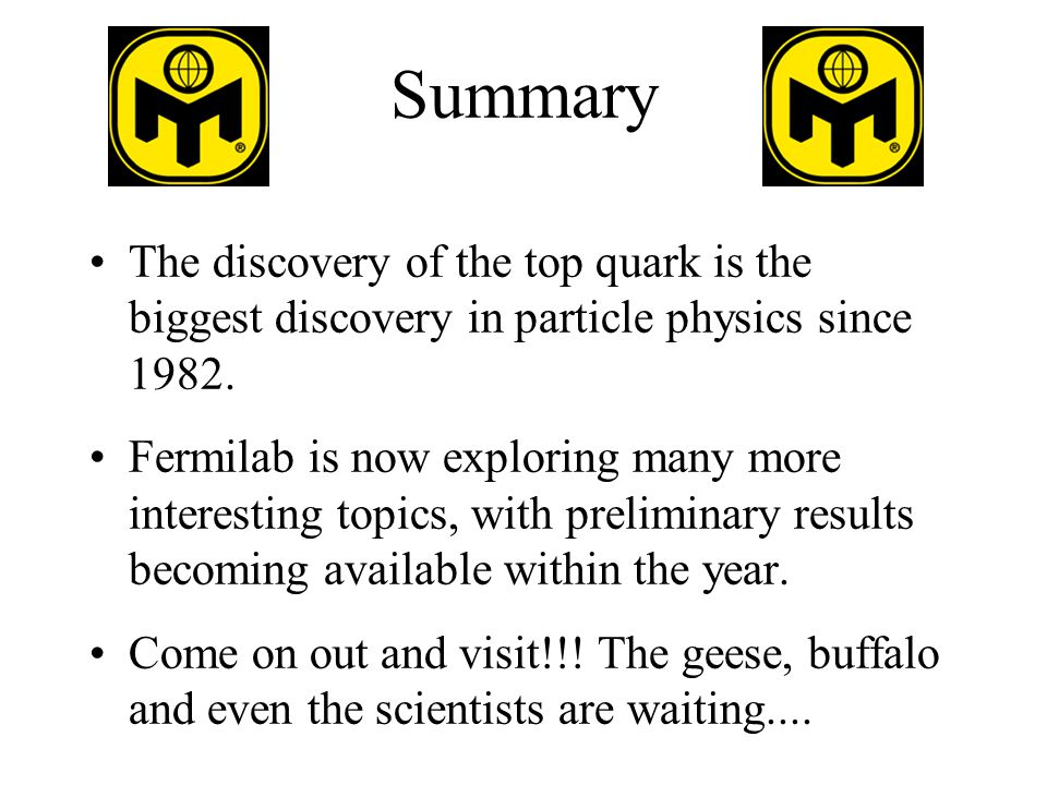 Summary The discovery of the top quark is the biggest discovery in particle physics since 1982.