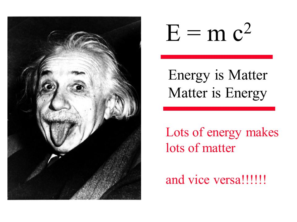 E = m c 2 Energy is Matter Matter is Energy Lots of energy makes lots of matter and vice versa!!!!!!