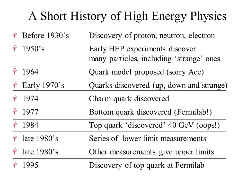 A Short History of High Energy Physics HBefore 1930's Discovery of proton, neutron, electron H1950's Early HEP experiments discover many particles, including 'strange' ones H1964 Quark model proposed (sorry Ace) HEarly 1970's Quarks discovered (up, down and strange) H1974 Charm quark discovered H1977 Bottom quark discovered (Fermilab!) H1984 Top quark 'discovered' 40 GeV (oops!) Hlate 1980's Series of lower limit measurements Hlate 1980's Other measurements give upper limits H1995 Discovery of top quark at Fermilab