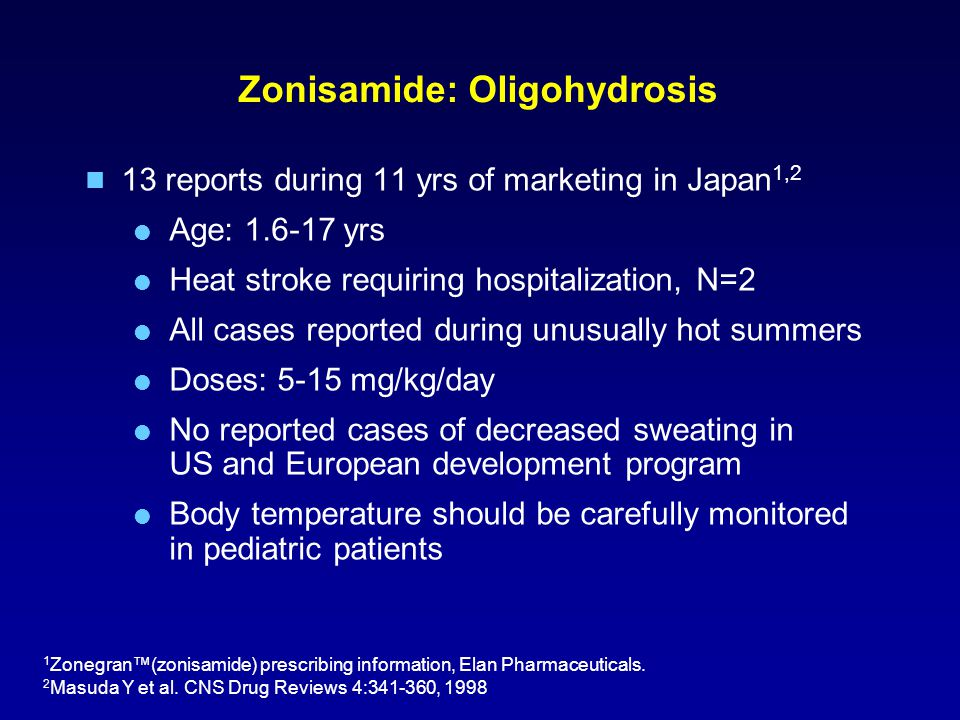 Zonisamide: Oligohydrosis 13 reports during 11 yrs of marketing in Japan 1,2  Age: 1.6-17 yrs  Heat stroke requiring hospitalization, N=2  All cases reported during unusually hot summers  Doses: 5-15 mg/kg/day  No reported cases of decreased sweating in US and European development program  Body temperature should be carefully monitored in pediatric patients 1 Zonegran™(zonisamide) prescribing information, Elan Pharmaceuticals.