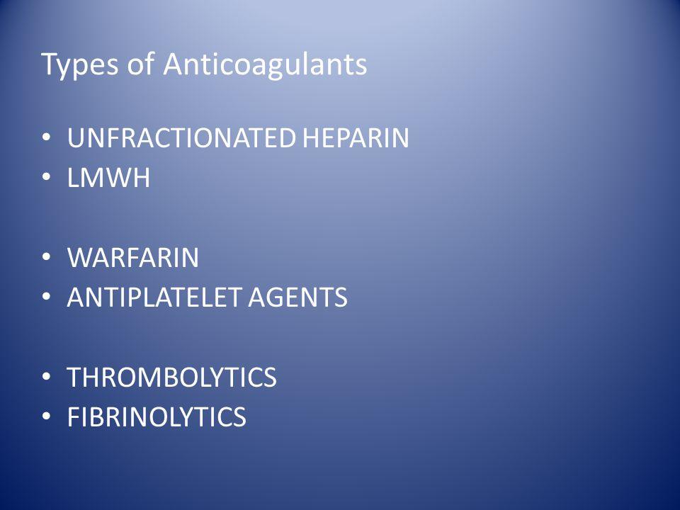 Types of Anticoagulants UNFRACTIONATED HEPARIN LMWH WARFARIN ANTIPLATELET AGENTS THROMBOLYTICS FIBRINOLYTICS