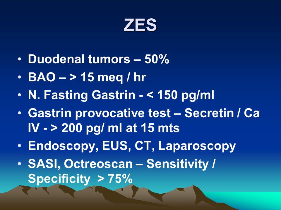 ZES Duodenal tumors – 50% BAO – > 15 meq / hr N.