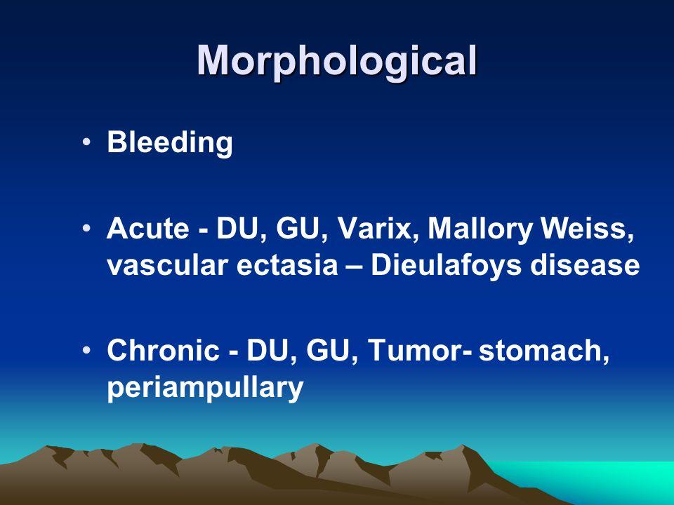 Morphological Bleeding Acute - DU, GU, Varix, Mallory Weiss, vascular ectasia – Dieulafoys disease Chronic - DU, GU, Tumor- stomach, periampullary