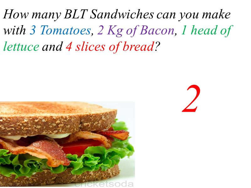 How many BLT Sandwiches can you make with 3 Tomatoes, 2 Kg of Bacon, 1 head of lettuce and 4 slices of bread? 2