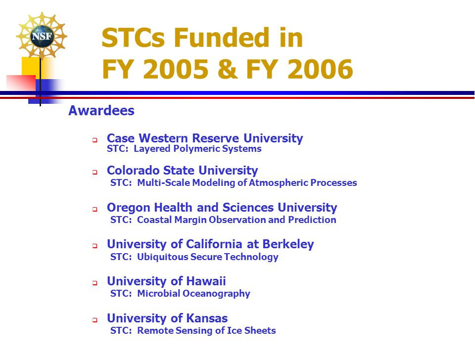 STCs Funded in FY 2005 & FY 2006 Awardees  Case Western Reserve University STC: Layered Polymeric Systems  Colorado State University STC: Multi-Scal