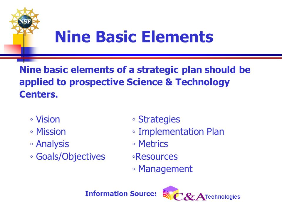 Nine Basic Elements Nine basic elements of a strategic plan should be applied to prospective Science & Technology Centers. ◦ Vision◦ Strategies ◦ Miss