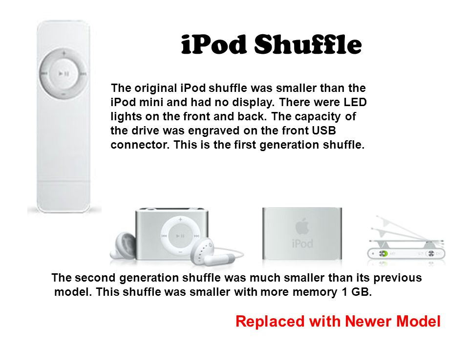 iPod Shuffle The original iPod shuffle was smaller than the iPod mini and had no display.