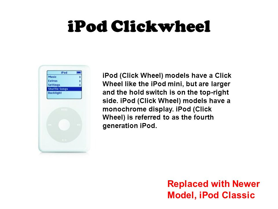iPod Clickwheel iPod (Click Wheel) models have a Click Wheel like the iPod mini, but are larger and the hold switch is on the top-right side.