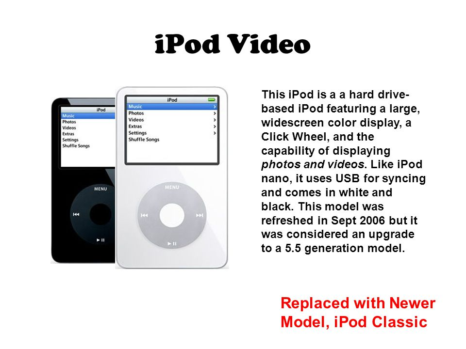 iPod Video This iPod is a a hard drive- based iPod featuring a large, widescreen color display, a Click Wheel, and the capability of displaying photos and videos.