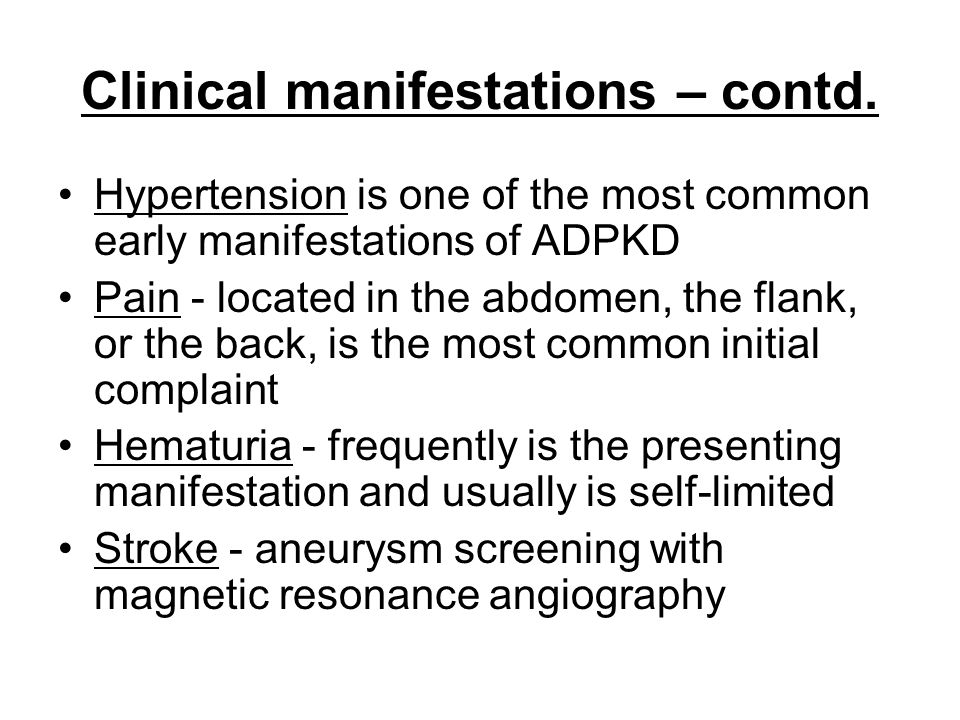 Clinical manifestations – contd.