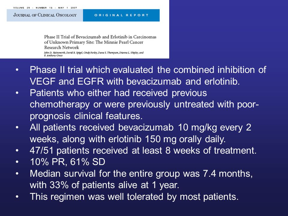Phase II trial which evaluated the combined inhibition of VEGF and EGFR with bevacizumab and erlotinib.