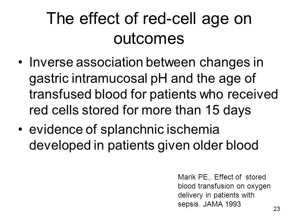 23 The effect of red-cell age on outcomes Inverse association between changes in gastric intramucosal pH and the age of transfused blood for patients who received red cells stored for more than 15 days evidence of splanchnic ischemia developed in patients given older blood Marik PE,.