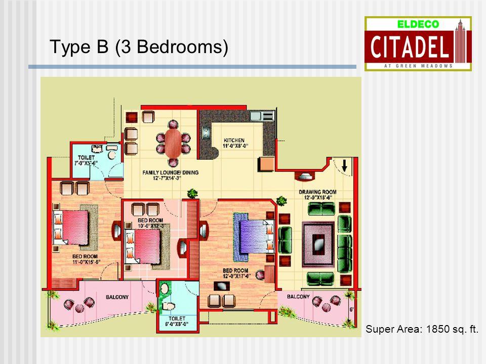Type B (3 Bedrooms) Super Area: 1850 sq. ft.