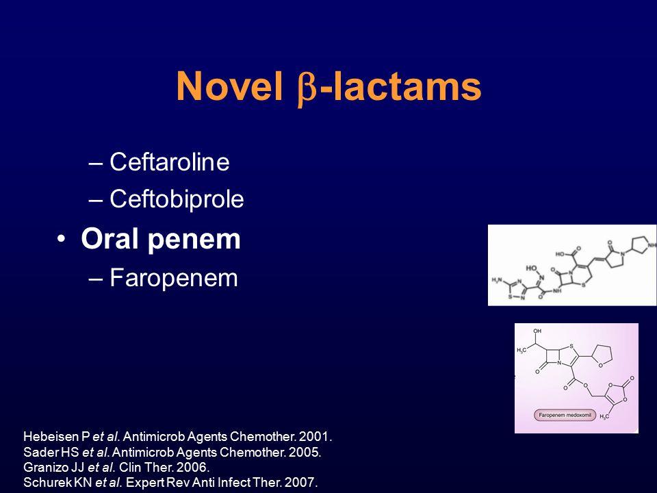 Novel  -lactams –Ceftaroline –Ceftobiprole Oral penem –Faropenem Hebeisen P et al. Antimicrob Agents Chemother. 2001. Sader HS et al. Antimicrob Agen