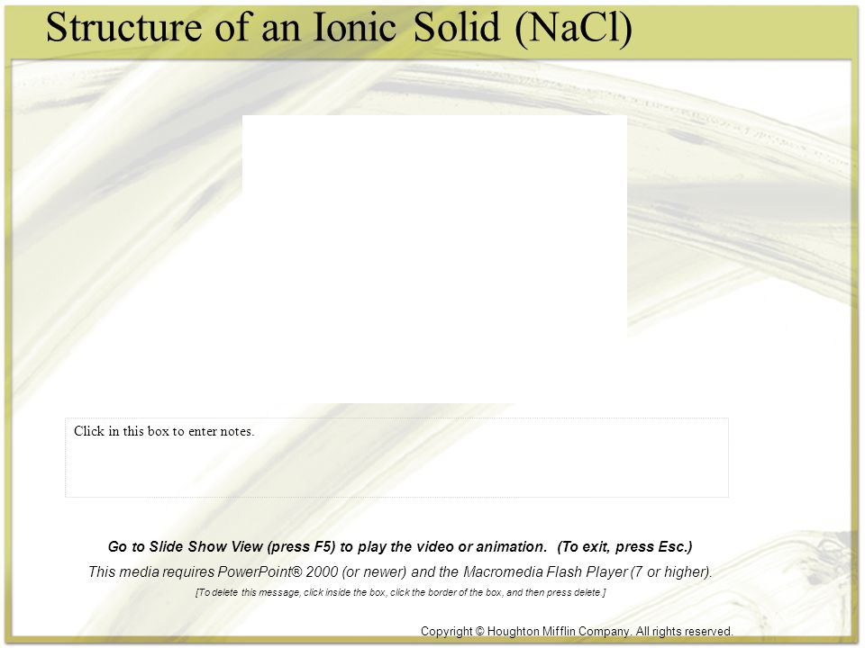 Structure of an Ionic Solid (NaCl) Click in this box to enter notes. Copyright © Houghton Mifflin Company. All rights reserved. Go to Slide Show View
