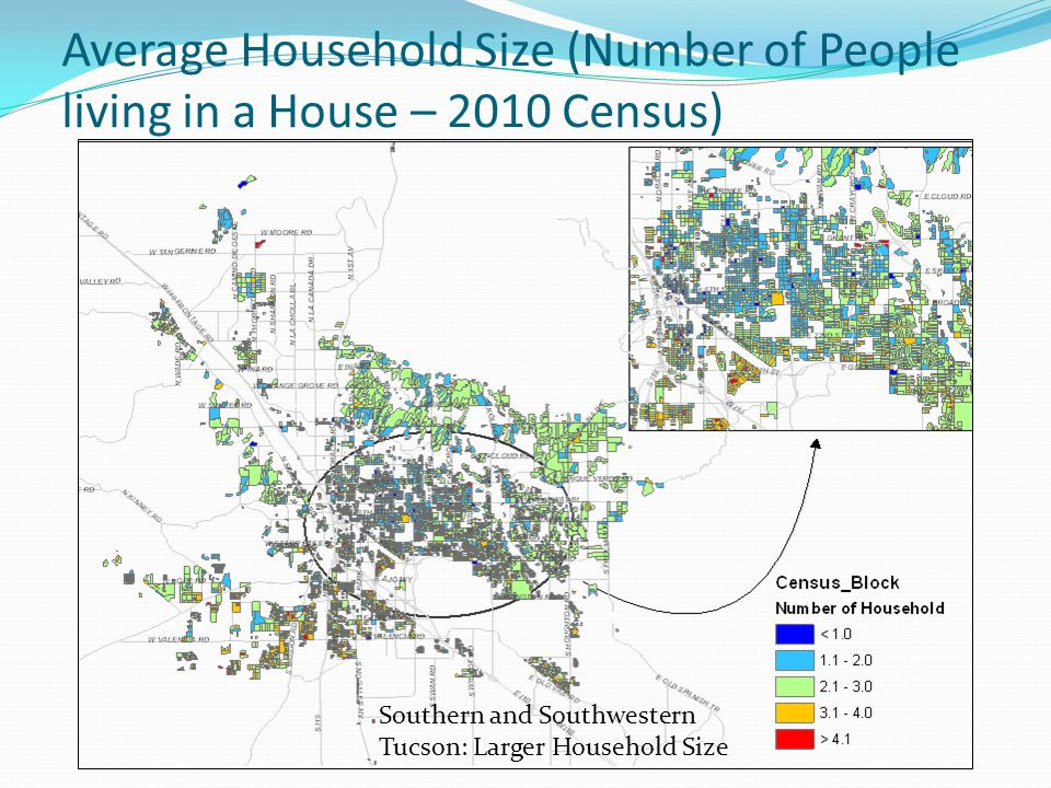 Average Household Size (Number of People living in a House – 2010 Census) Southern and Southwestern Tucson: Larger Household Size