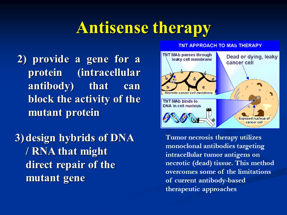 Antisense therapy 2) provide a gene for a protein (intracellular antibody) that can block the activity of the mutant protein Tumor necrosis therapy ut
