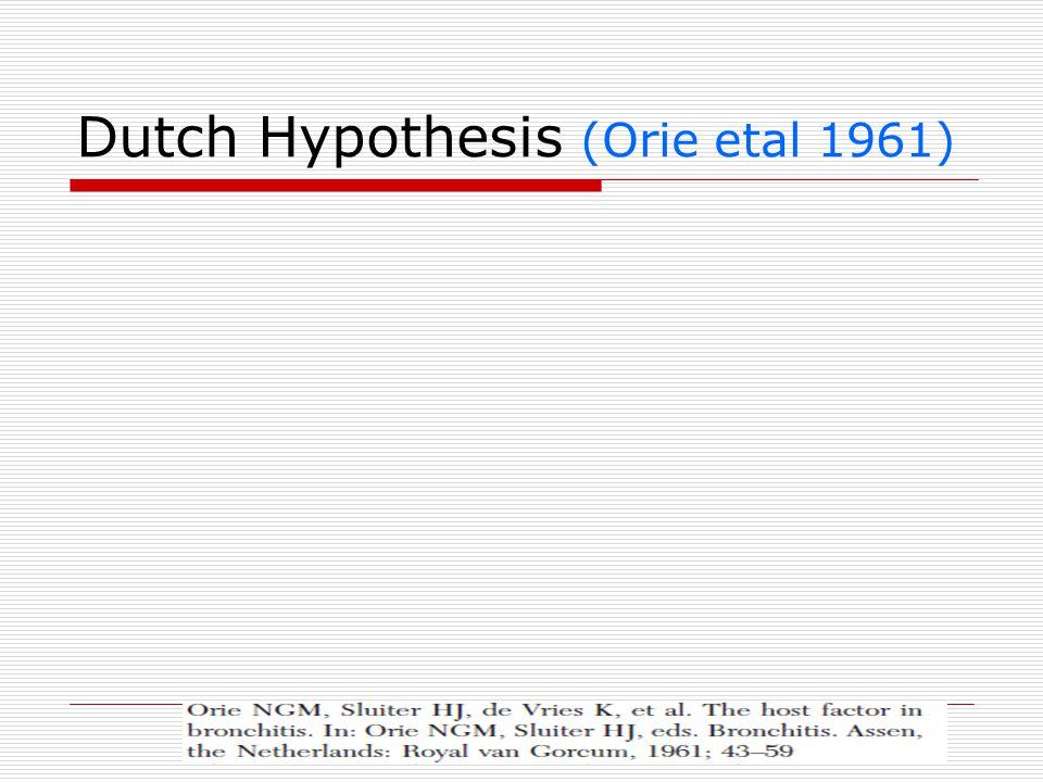 Dutch Hypothesis (Orie etal 1961)