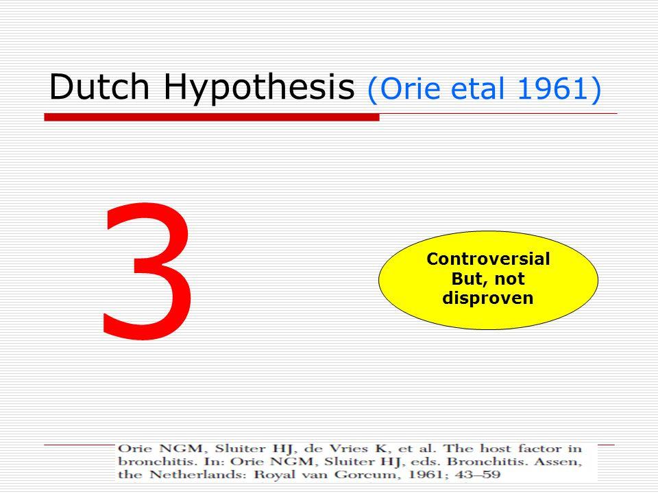 Dutch Hypothesis (Orie etal 1961) 3 Controversial But, not disproven